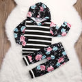 2017 Spring Fashion Toddler Kids Baby Girl Floral Stripe Tops Pullover Hoodied Sweatshirt+Pants 2pcs Outfit Baby Clothing Set