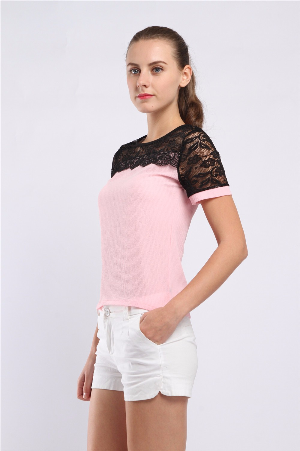 Women Blouses Summer Lace Chiffon Blouse Casual Blusa Feminina Tops Fashion Chemise Femme Shirts Plus Size 5XL Red White Pink 16