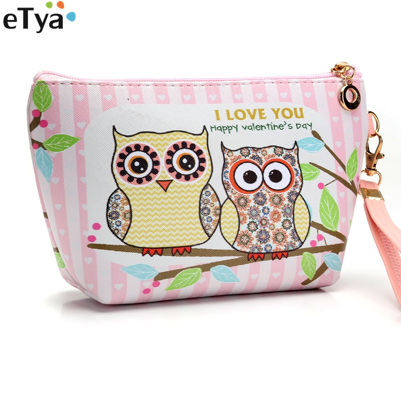 Fashion Waterproof Women Cosmetic Bag Pu Leather Animal Owl Cartoon Travel Toiletry Makeup Wash Organizer Necessaire unicorn 3d printing fashion makeup bag maleta de maquiagem cosmetic bag necessaire bags organizer party neceser maquillaje