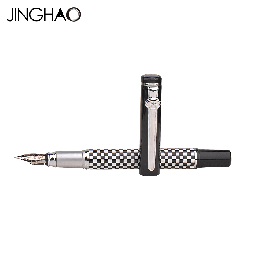 DUKE 928 Luxury Silver Clip Fountain Pen Plaid and Black for Choose 0.5mm Iridium Ink Pens Gift Stationery with an Original Box duke classic confucius bamboo 1 2mm curved tip iridium nib metal fountain pen with luxury original gift box ink pens for gift