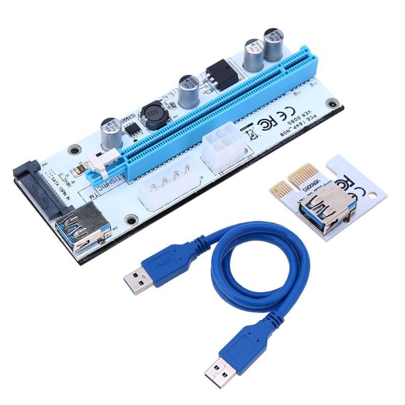 008 S PC PCIe PCI-E PCI Express Riser Card 1x zu 16x USB 3.0 Datenkabel SATA auf 4Pin IDE Molex Stromversorgung für BTC Miner Maschine