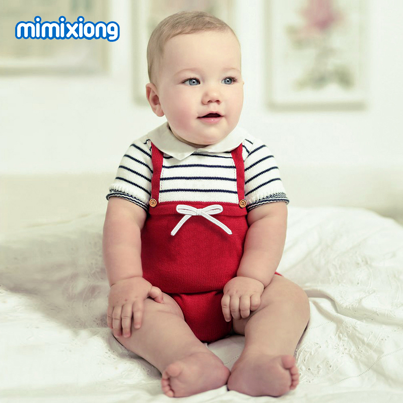Baby Girl Bodysuit Dresses Short Sleeve Newborn One Piece Coveralls Body Suits Stripes Knit Toddler Kids Onesie Children Sunsuit