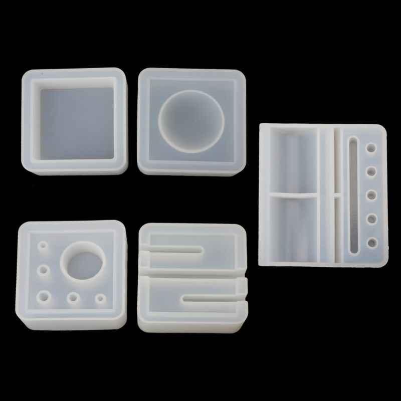 UV Resin Cetakan Silikon Kartu Penyimpanan Pena Pemegang Asbak Epoxy Resin Cetakan untuk Membuat Perhiasan Resin Moldes Selicone Resin Cetakan hadiah