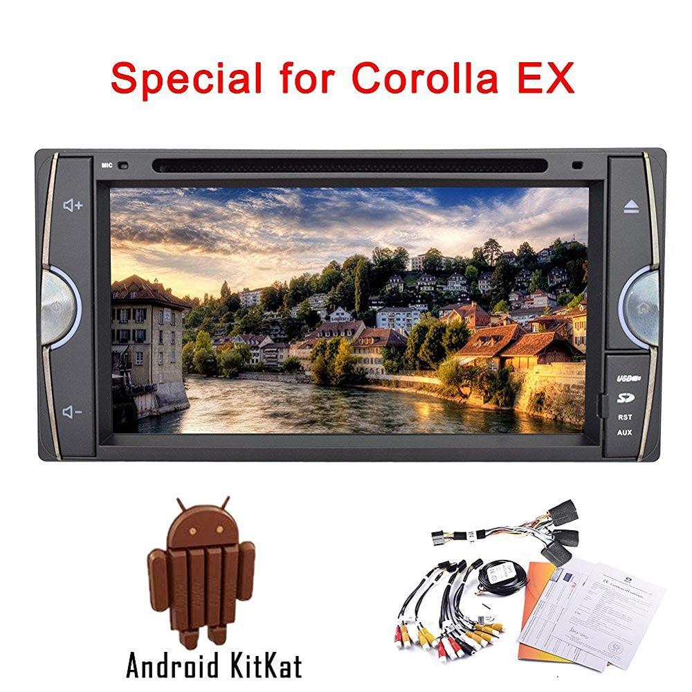 Android4.4 lecteur DVD/CD de voiture pour Toyota COROLL EX HD support d'écran tactile lien miroir intégré wifi carte 3D am/fm radio bluetooth