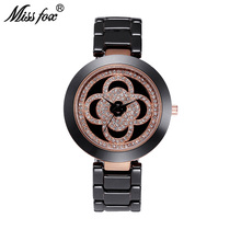 Miss Fox Creative Flower Ceramic Womens Watches Super Fashion Brand Female Wristwatches Full Rhinestones Water Resistant Watch