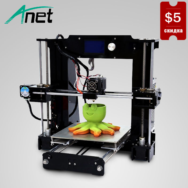 купить Anet A6 3D Printer High Precision Prusa i3 Reprap Aluminum HotBed 0.4mm Nozzle 12864 LCD Screen 16GB SD Card Send From Moscow недорого