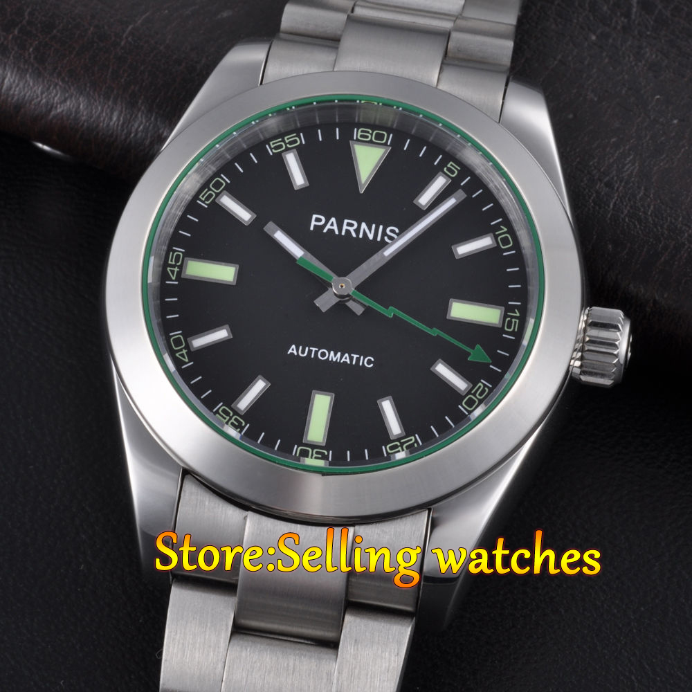Parnis 40mm sapphire glass black dial Stainless steel Automatic mens watch 40mm parnis stainless steel case black dial orange second hands mens automatic wristwatches pa4002sbo