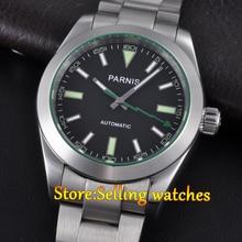 Parnis 40mm cristal de zafiro esfera de color negro de acero Inoxidable reloj Automático para hombre