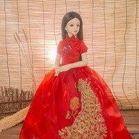 1 Pcs Fashion Red Cheongsam Bride Wedding Dress For 1 3 BJD SD LUTS Dollfie Dolls