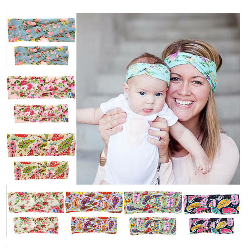 1SET  Mom and Turban Headband Pair Set Top Knotted Flower Headband Fashion Cotton Headwear for women Hair Accessories mz1 metting joura vintage bohemian ethnic tribal flower print stone handmade elastic headband hair band design hair accessories