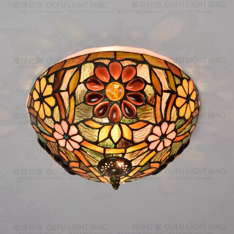 28.5cm European retro Tiffany color glass ceiling light hallway corridor bedroom balcony lamp 8 inch yellow sunflowers down american tiffany glass ceiling decorated with a balcony hallway bathroom kitchen