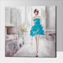 100% grande saco de lona handmade pintura a óleo bonita menina no rua wall art imagem decoração para sala de estar no quadro