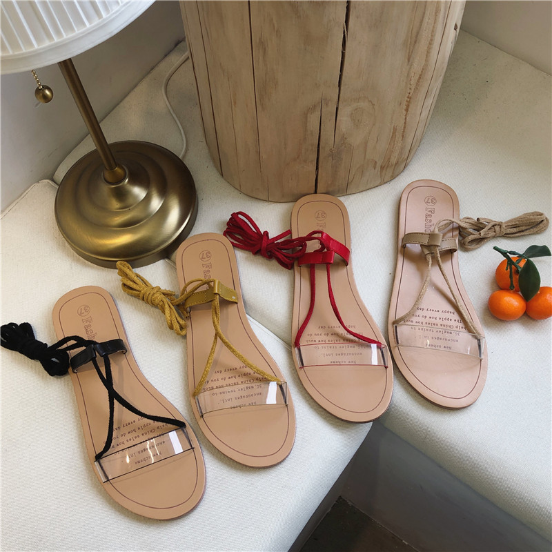 HKCP 2019 summer new flat loop strap transparent sandals slip resistant lace casual Roman women 39 s shoes C460 in Low Heels from Shoes