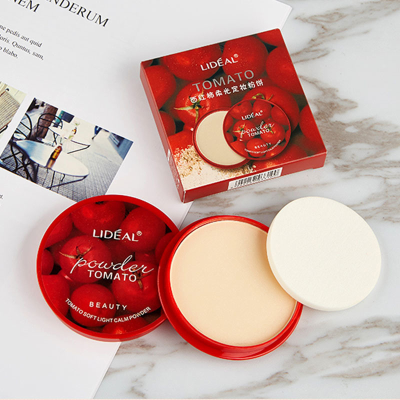LIDEAL 3Colors Tomato Face Powder Mineral Soft Light Oil-control Pressed Setting Powder Makeup Concealer Brighten Base Cosmetic
