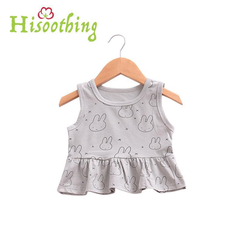 Summer Baby Girl Tee Cotton Sleeveless Cartoon Rabbit Infant Baby Girl Vest Children's Tshirt All Match Short Baby Girl Clothes