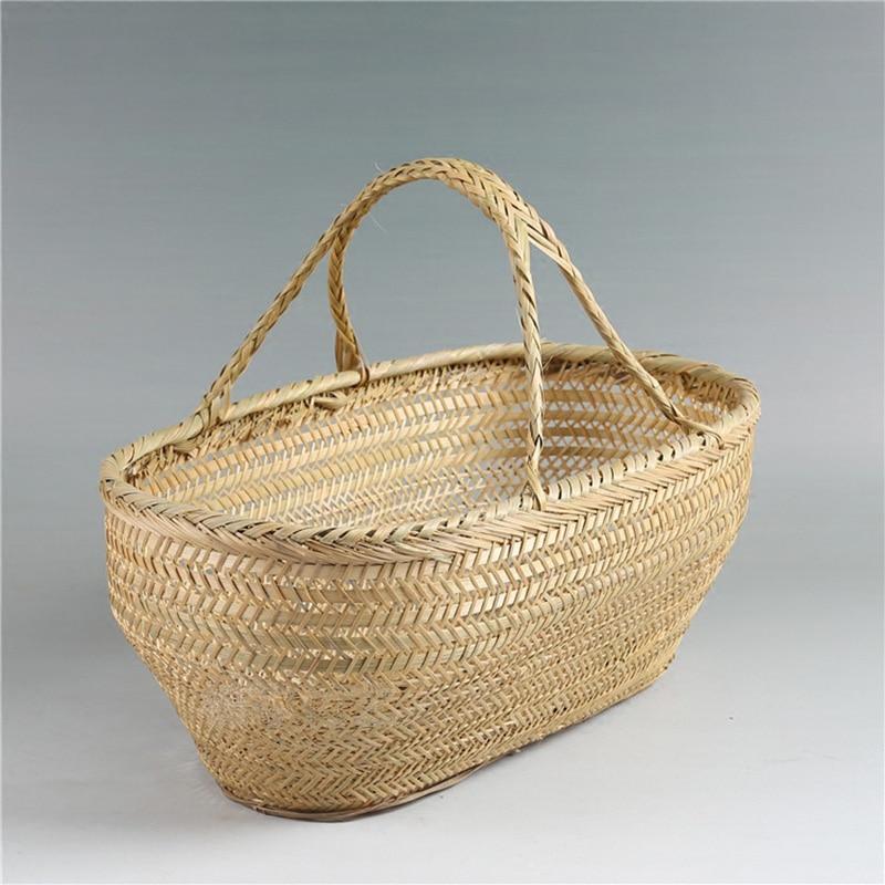 Bambú natural Canasta de lavandería Cesta de picnic Cestas de - Organización y almacenamiento en la casa