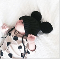 Suitable for 6months-5years old Children hat double ball wool cap three-dimensional Mickey ears hat baby hat wool ball