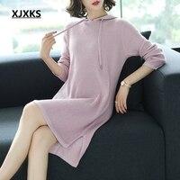 XJXKS Sweaters Fashion 2018 Women Jumpers Ladies Knitted Hooded Casual Sweater Dress Korean Style Knitwear Long Sweater