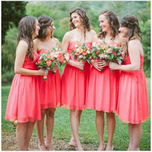 Red Bridesmaid Dresses Lovely Sweetheart With Backless Short Dresses For Wedding Party Cheap Chiffon Wedding Party Dress