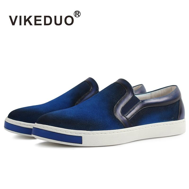 Vikeduo 2019 Hot Handmade Vintage Designer แฟชั่นหรูหรายี่ห้อชายรองเท้าหนังผู้ชายสเก็ตบอร์ดรองเท้า-ใน รองเท้าลำลองของผู้ชาย จาก รองเท้า บน   1