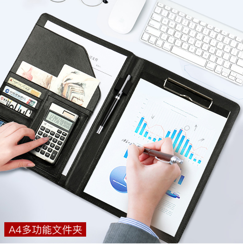A4 PU Leather Business Conference File Bill Manager Folder Portfolio Agreement Padfolio Document Sales Organizer Cover Memo Pad