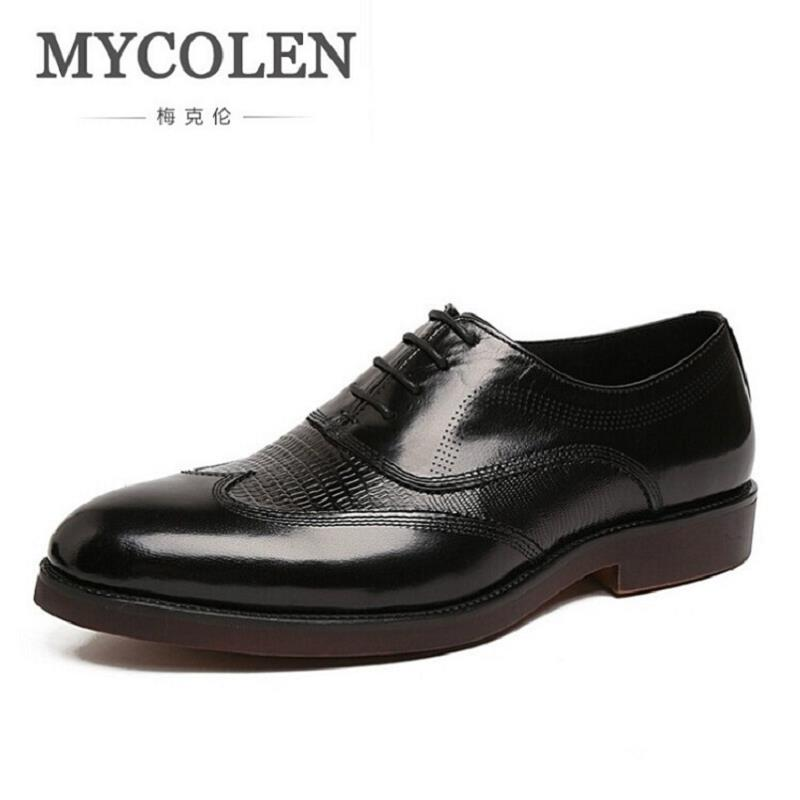 MYCOLEN New 2017 Oxford Business Shoes Social Party Men Dress Shoes Leather Office Shoes Black/Brown Mens Oxfords Zapatos Hombre northmarch men s leather lace up wedding flats luxury mens business office oxfords man dress shoes men sapatos social masculino