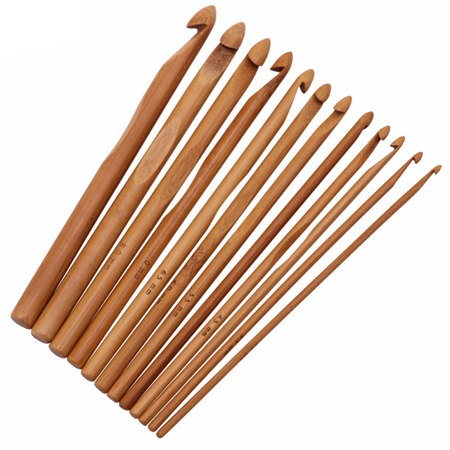 Wholesale Home Garden Arts Crafts Sewingneedle Arts Craft Sewing Tools Accessory 12pcs Crochet Bamboo Material
