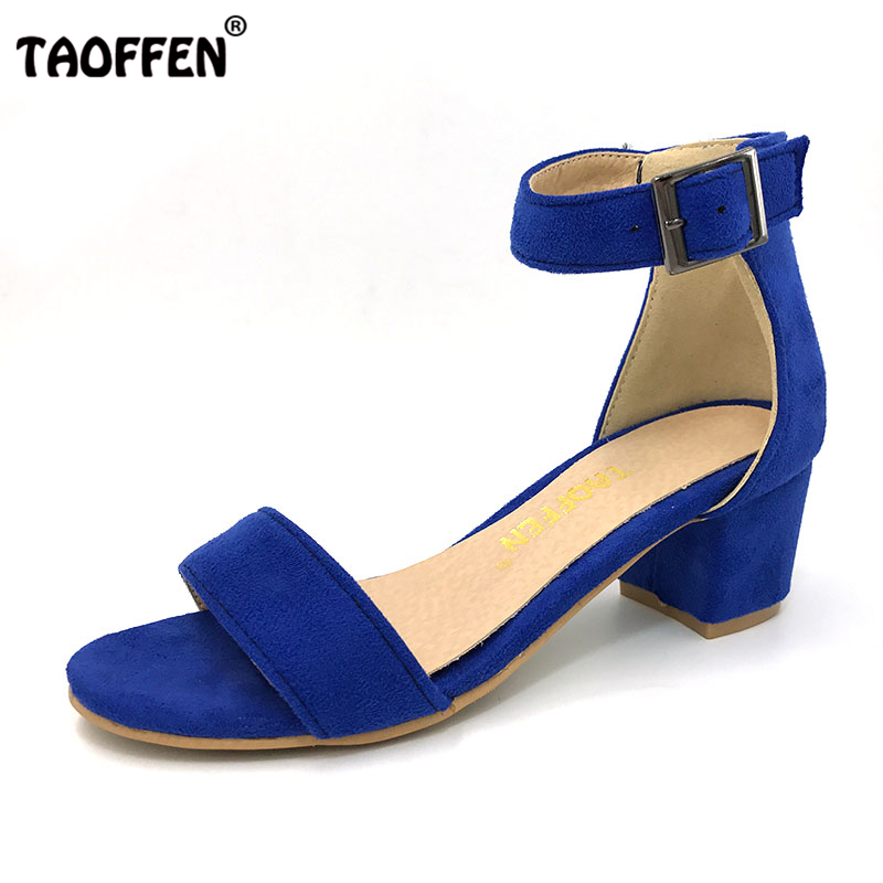 TAOFFEN Women High Heel Sandals Women Open Peep Toe Shoes Womens Lady Suede Leather High Quality Brand Shoes Size 34-43 PA00633 women flat sandals fashion ladies pointed toe flats shoes womens high quality ankle strap shoes leisure shoes size 34 43 pa00290