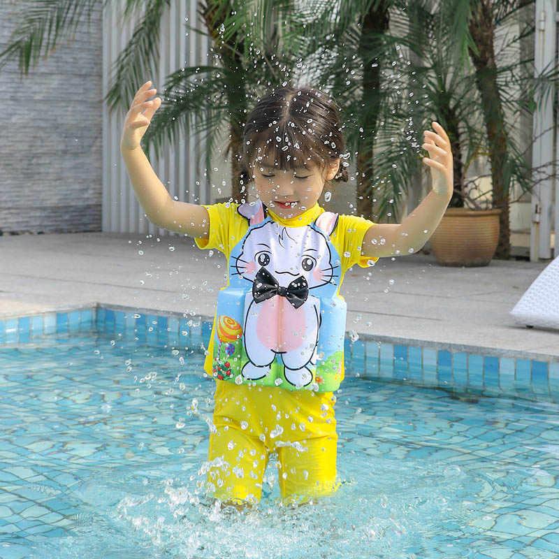 Дети спасательный жилет Детская Спасательная куртка для мальчиков и девочек детские спасательные жилеты солнцезащитный плавающий детский водный купальник надувной купальный костюм
