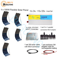5 шт. 100 Вт гибкие солнечные панели 110 V 220 V 1000 Вт инвертор 12 В/24 В 40A контроллер 500 Вт системы комплект для RV Двор солнечной электростанции