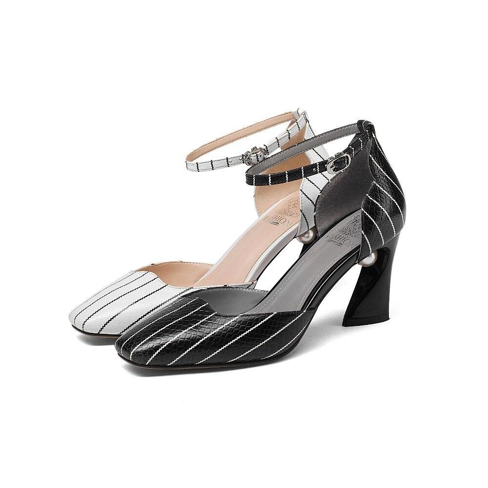 Classique Ensemble Luxe Chaussures Lenkisen Véritable Nouveau Pompes En Carré Bout Talons Étrange Motif L57 De Noir Cuir Simple blanc Perle Bande Femmes qvTZxqn0