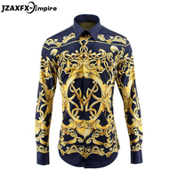 New Arrival Men European And American Style Royal Design Shirt Long Sleeve Men Casual Slim Fit