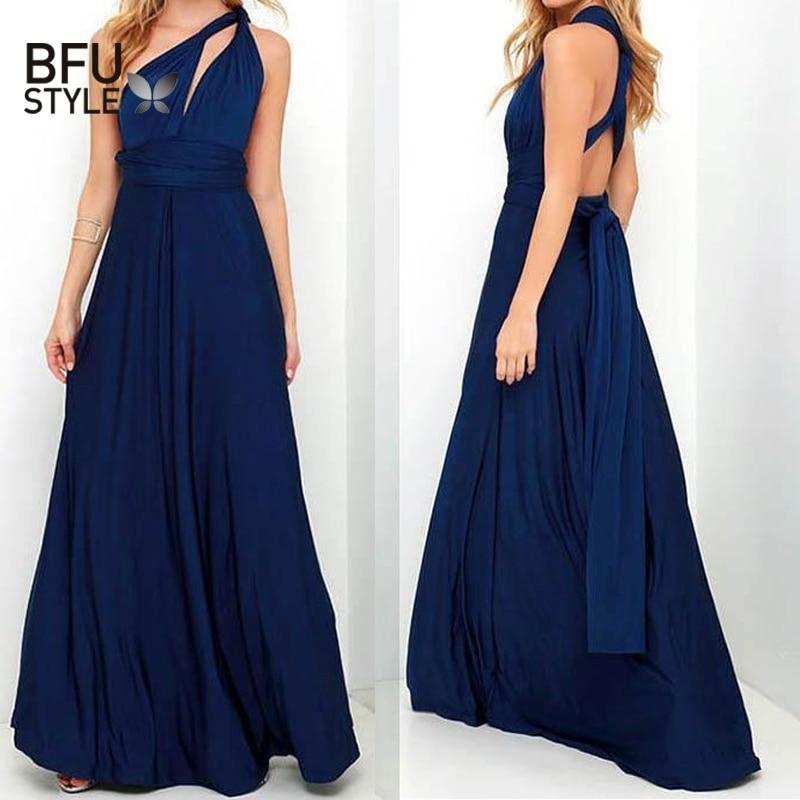 Sexy Long Dress Bridesmaid Formal Multi Way Wrap Convertible Infinity Maxi Dress Navy Blue Hollow Out Party Bandage Vestidos 1