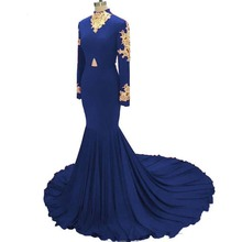 Doragrace Real Photo Gorgeous Applique High Neck Long Sleeve Mermaid Prom Gowns Royal Blue Evening Dresses