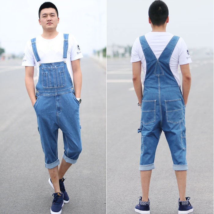 ФОТО Men Capris Denim Overalls New 2017 Calf Length Male Bib Jeans Plus Size Spring Summer Free Shipping