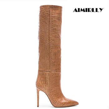 Aimirlly Women Shoes Pointed Toe High Heel Knee High Boots Pull On Crocodile Pattern Winter Fashion Boots