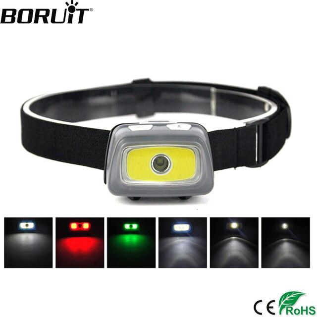 BORUIT COB XPE светодиодный светильник на голову водонепроницаемый фонарик для бега Предупреждение светом и SOS налобный фонарь со свистком AAA бат...