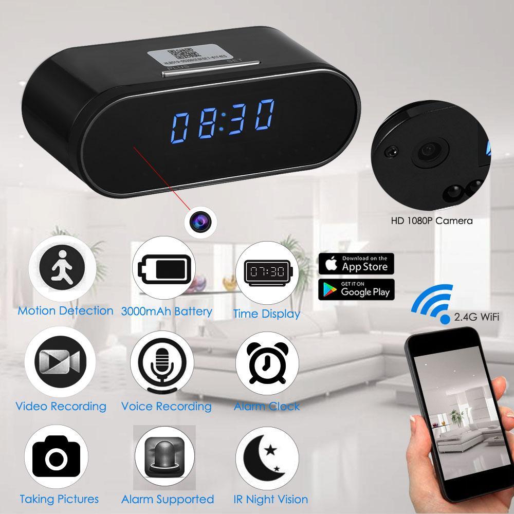 Smart Clock MiniCamera Wifi 1080P P2P WebCam Remote Monitor Motion Detection IR Night Vision Surveillance Security CamcorderSmart Clock MiniCamera Wifi 1080P P2P WebCam Remote Monitor Motion Detection IR Night Vision Surveillance Security Camcorder