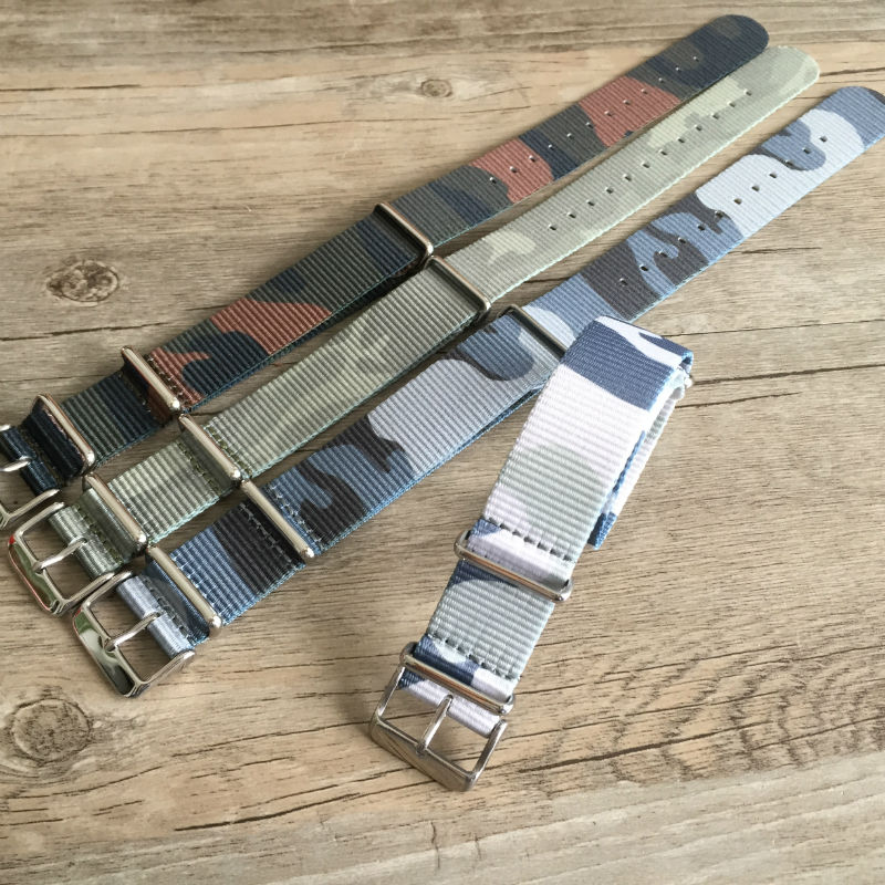 цены Grade Nylon Watchbands, 18MM / 20MM / 22MM / 24MM Camouflage NATO Strap For Military Watchbands, Fast Delivery