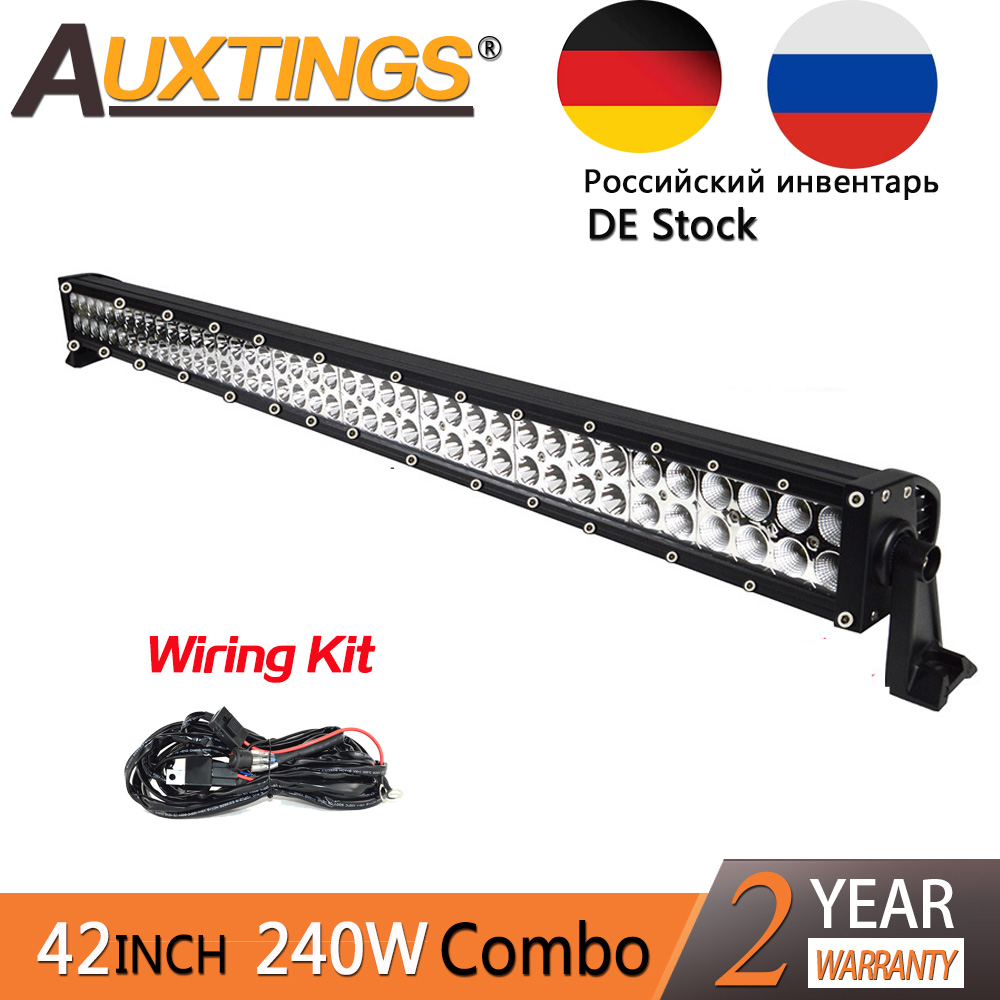 Auxtings 42 pulgadas 42 ''240 W Staight luz led Combo inundación del punto CE RoHS 40 pulgadas offroad led barra ligera del trabajo 12 V 24 V impermeable