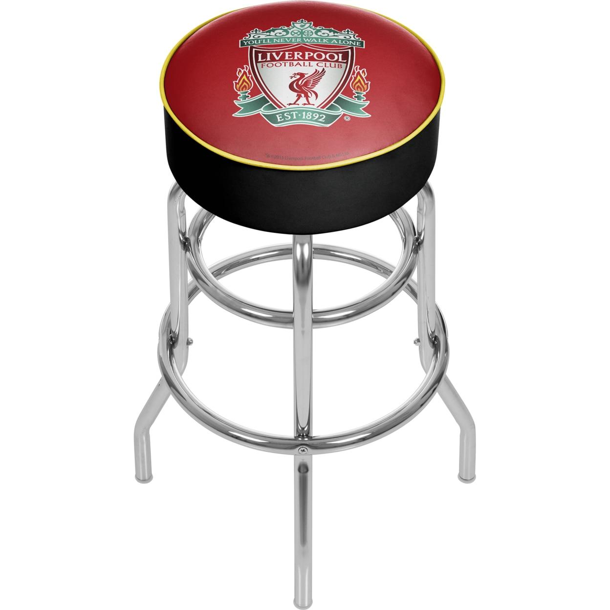 Premier League Liverpool Football Club Chrome Padded Swivel Bar Stool 30 Inches High premier league liverpool football club chrome 42 inch pub table