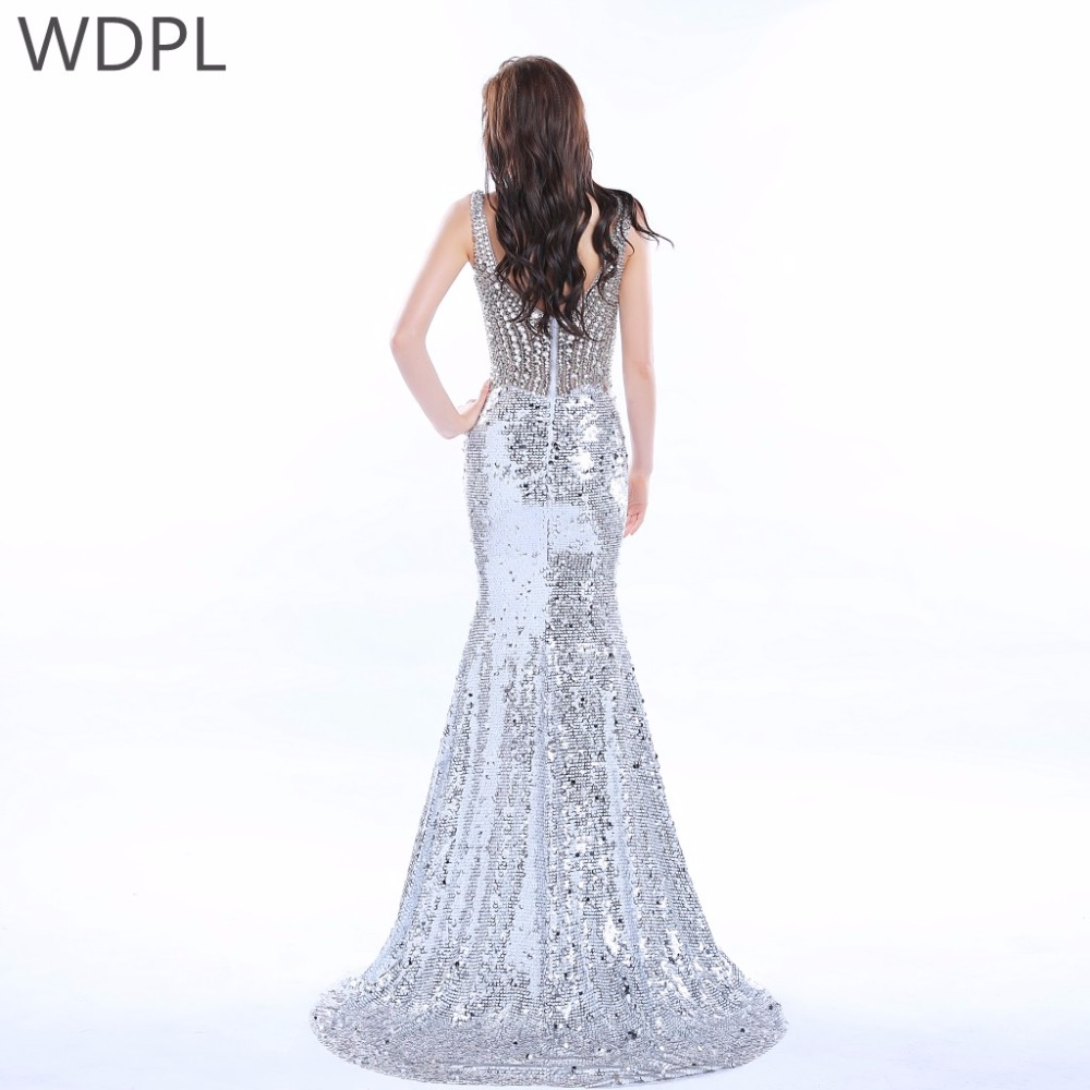 ab9039fff6 Brilliant Silver Sequin Mermaid Evening Dresses 2017 Spaghetti ...