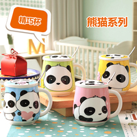 Cartoon Ceramic Cup Mug Spoon Cover Cat Panda Coffee Milk Creative Water Cup Drinkware Creative Gifts Home Office Kitchen