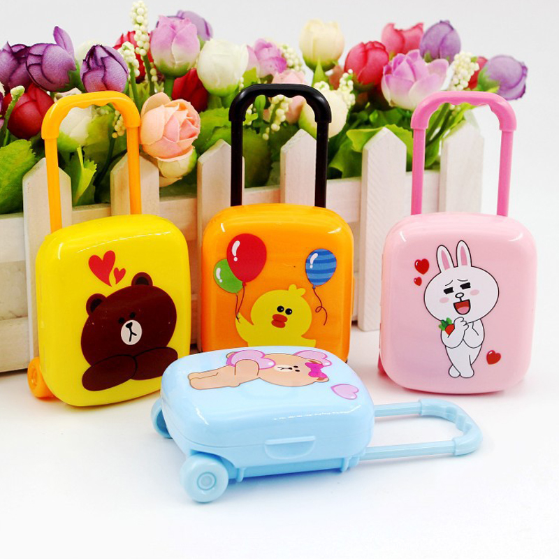 1 Box Lovely Mini Cartoon Cute Bear Eraser Luggage Case Bag Box Rubber Pencil Erasers Set Stationery School Supplies Gifts