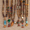 Trendy Nepal Bohemian style wood Beads Long Sweater Chain Statement Necklaces Pendant Bijou for Women