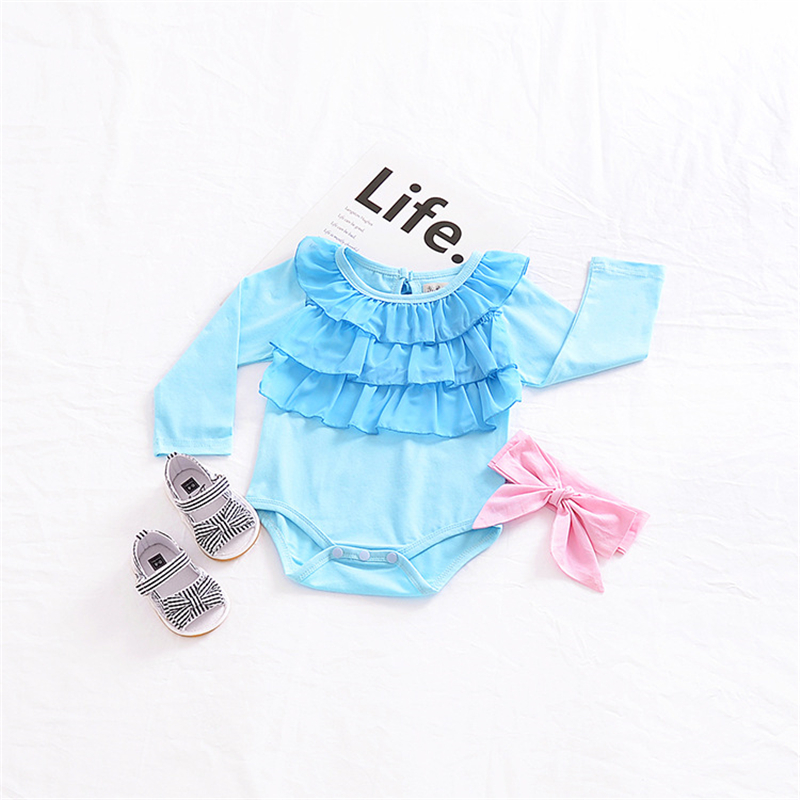 2018 Newborn Bodysuit Lotus Leaf Collar Baby Onesie Baby Bodysuit Toddler Bodysuit Baby Long Sleeve Newborn Onesie Light Blue