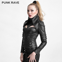 PUNK RAVE Punk Rivet Studded Sexy Woman High Collar Tight Leather Jacket Turtleneck Gothic Black Short Jackets Coat Halloween
