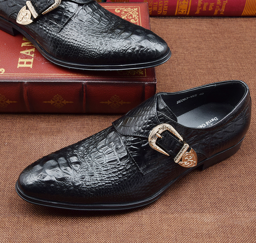 QYFCIOUFU Luxury Men Monk Strap Shoes Oxford Genuine Leather Crocodile Pattern Men Dress Shoes British Style Office Formal Shoes in Formal Shoes from Shoes