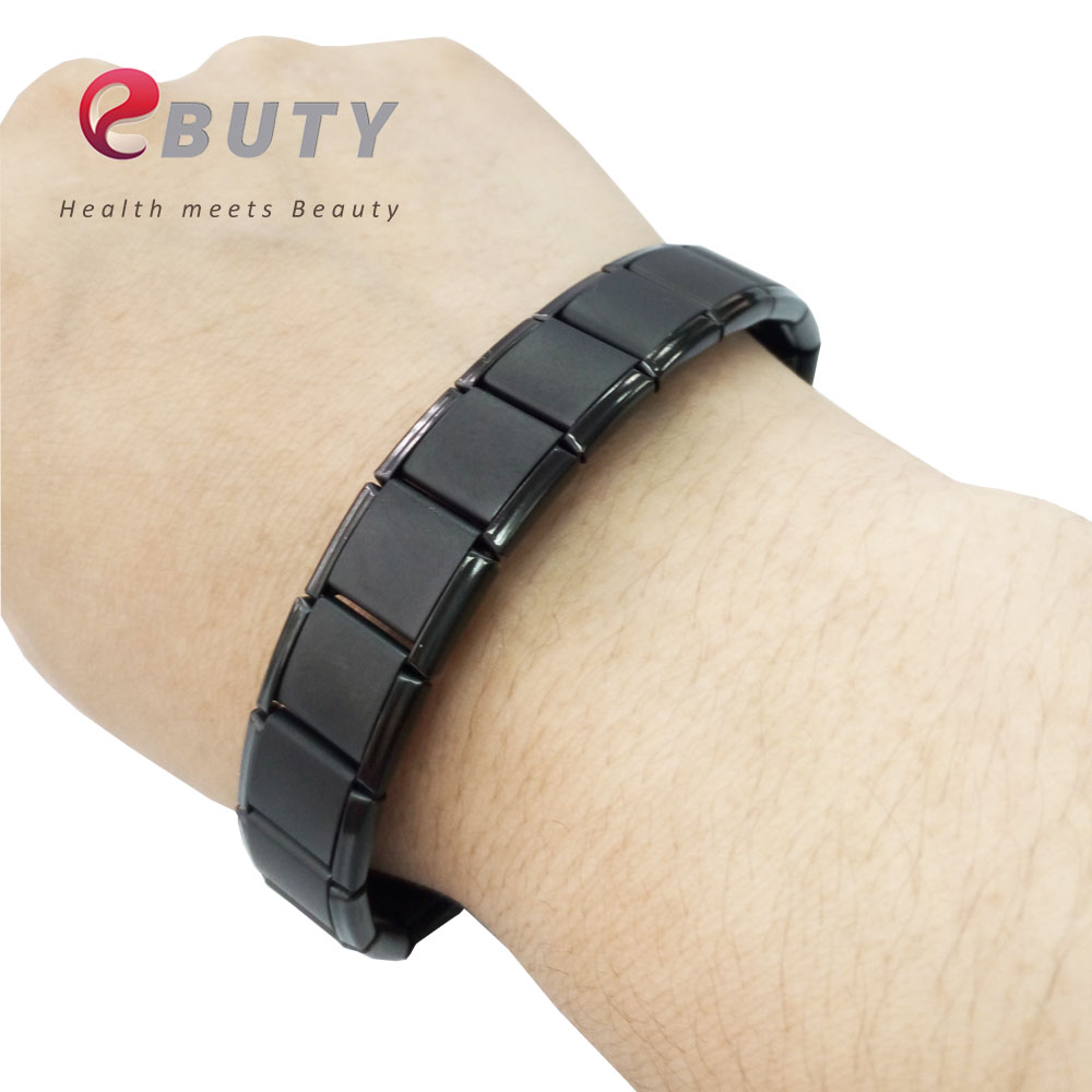 EBUTY Wholesales Bracelets Stainless Steel Bracelet for Men Sports Health Germanium Stone with Gift Box 50pcs