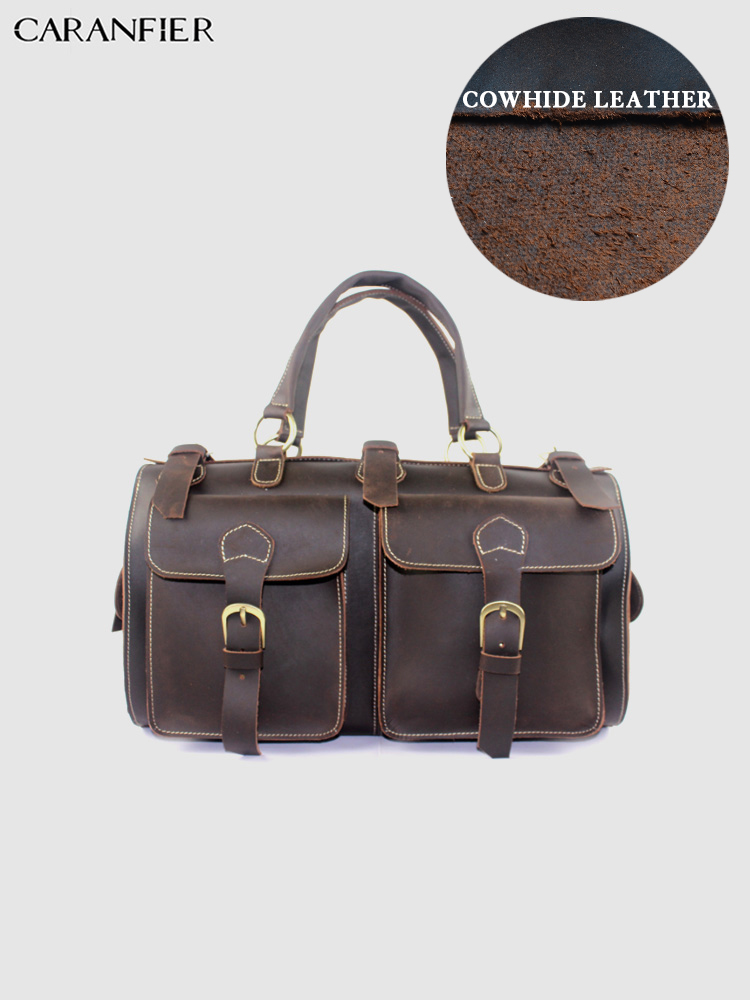 CARANFIER Mens Briefcase Crazy Horse Genuine Cowhide Leather High Quality Handbag Business Larger Capacity Travel Handbags